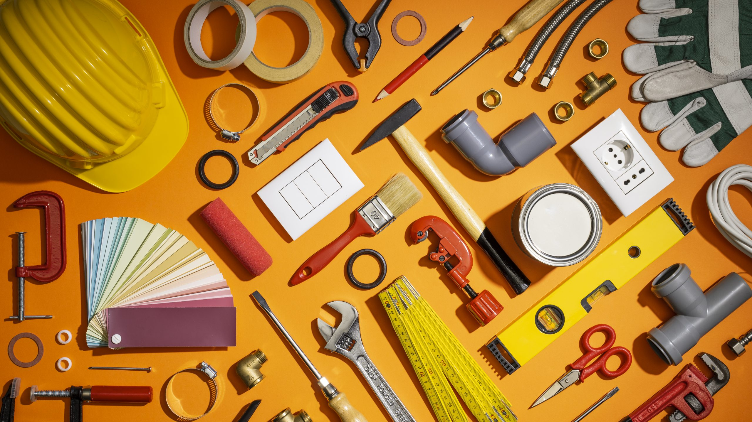 Do it yourself, repair and home renovation tools collection, flat lay
